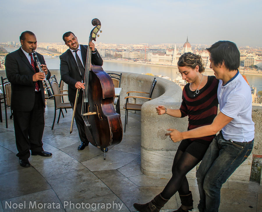 Live music and dance at Fisherman's Bastion in Buda section of Budapest best place to photograph Budapest