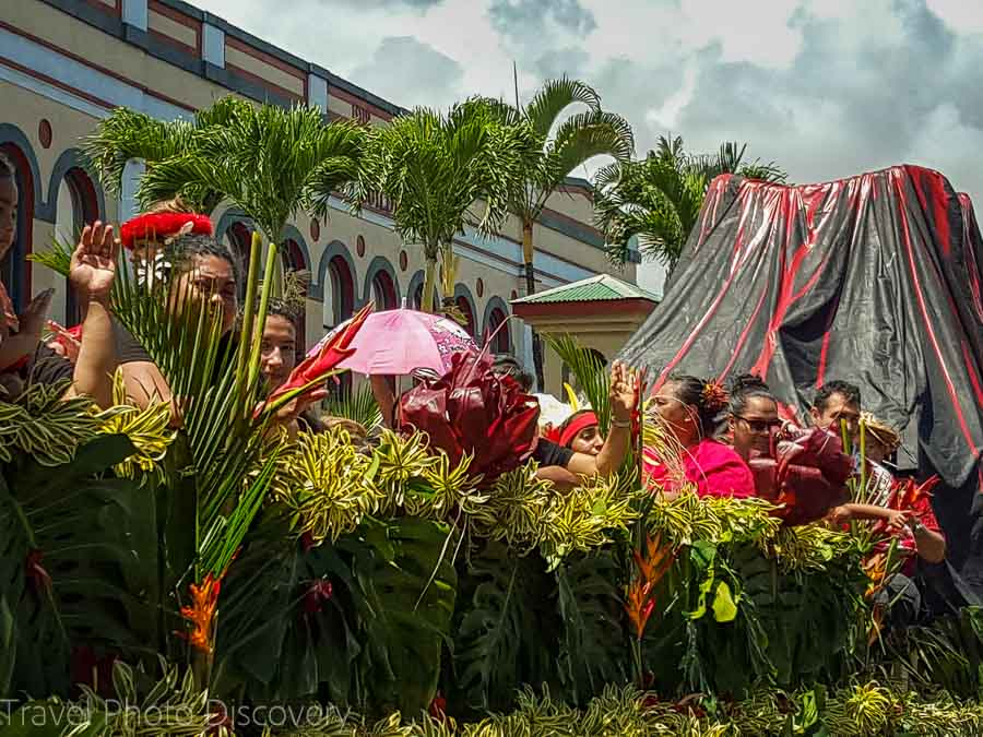 Volcano float at the Merrie Monarch Parade in Hilo Hawaii