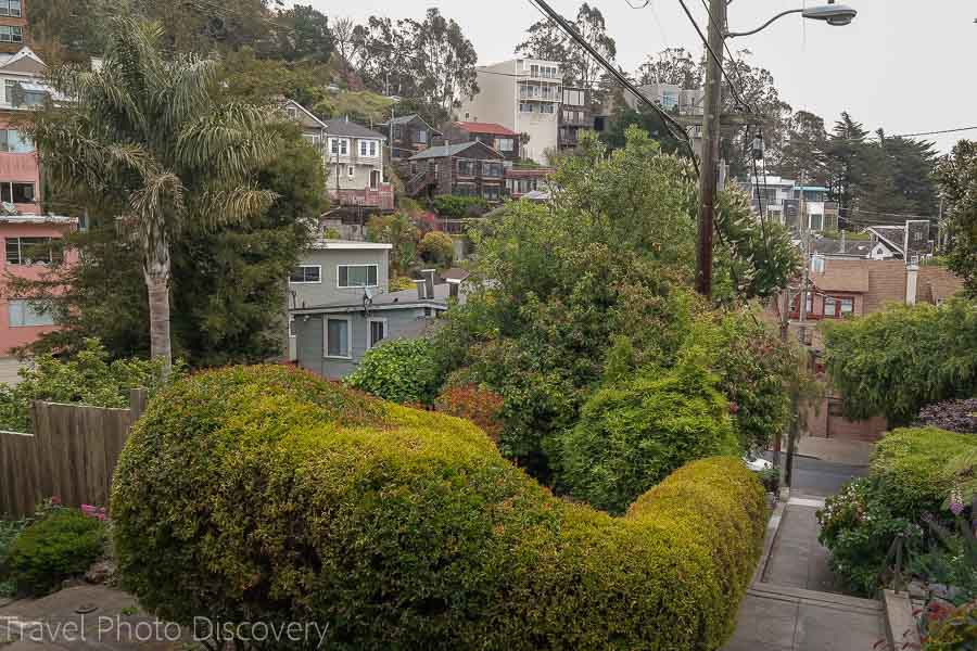 Views from the top of the Vulcan Stairs in San Francisco
