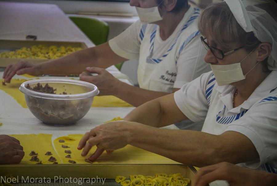 Making fresh tortellini at Valeggio, Italy