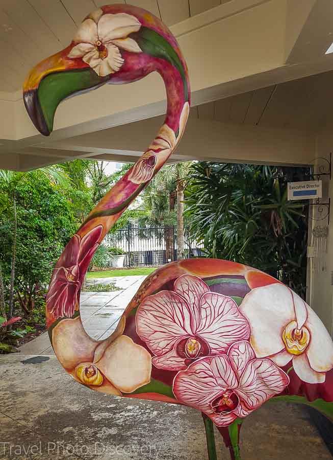 Art displays at Miami Beach Botanical Garden