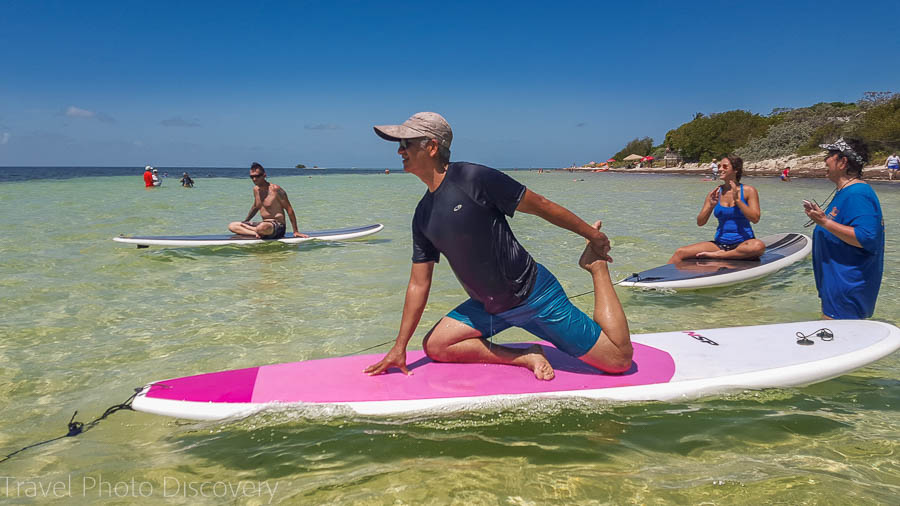 Yoga poses on SUP boarding at Bahia Honda, Florida Keys
