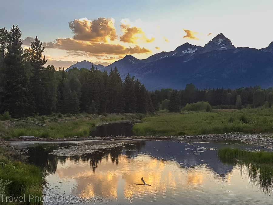 Evening water views to at the Grand Tetons National Park