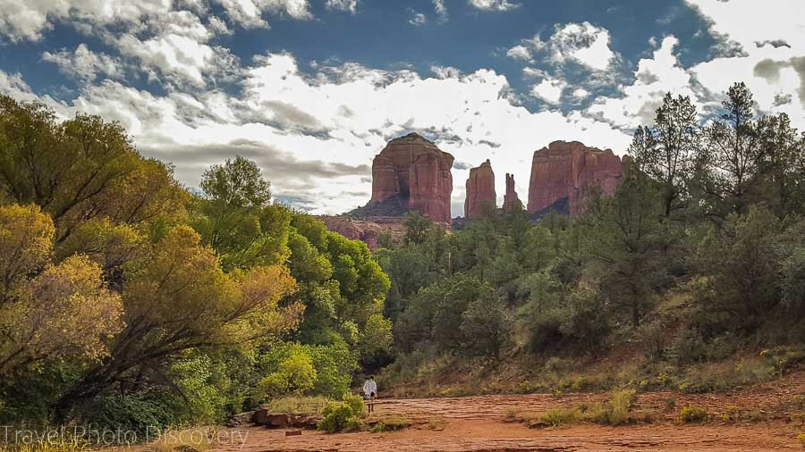 Walking along Oak Creek with views to Cathedral rock Sedona Arizona