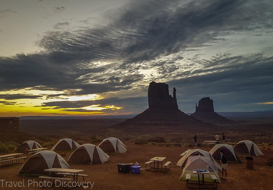 Sunrise at the campsite fronting Monument Valley