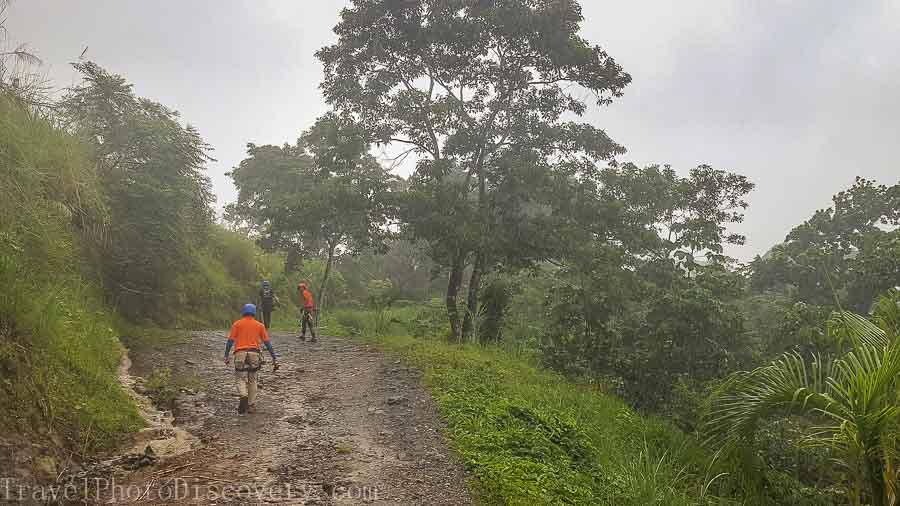 Treking uphill to base camp Zip line adventure tour Panama City, Panama