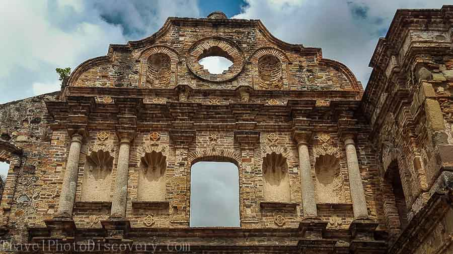 Stone façade Architectural details walking around Casco Viejo in Panama City
