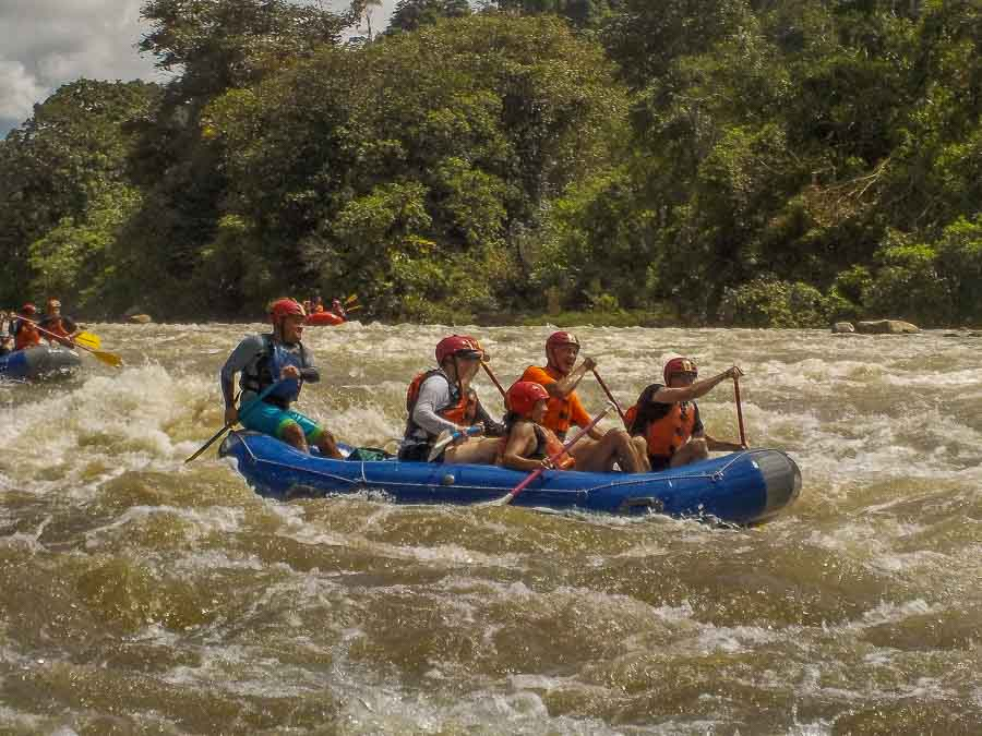 Shooting the rapids of the Chiriqui Viejo river in Boquete Panama