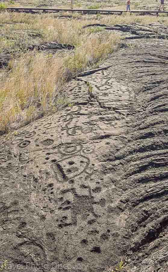 Exploring the petroglyphs at Volcanoes National Park