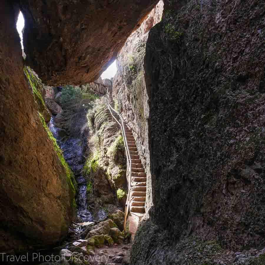 Climbing up into Balconies cave at Pinnacles National Park