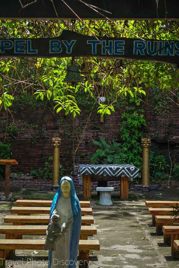outdoor gardens of Bantay Church in Vigan City