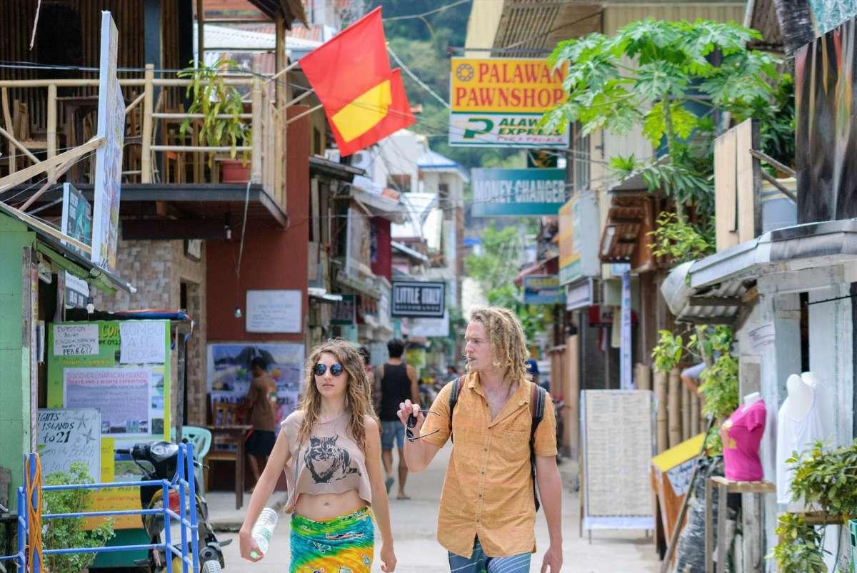 Walking along Serena St, El Nido