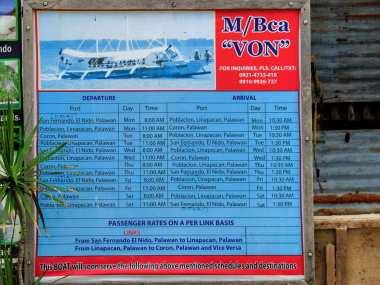 El Nido MB Von boat schedule
