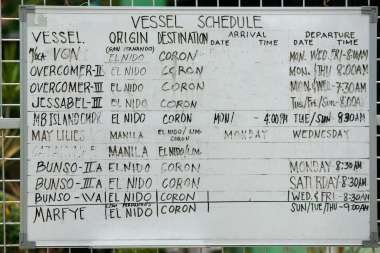 El Nido Port vessel schedule