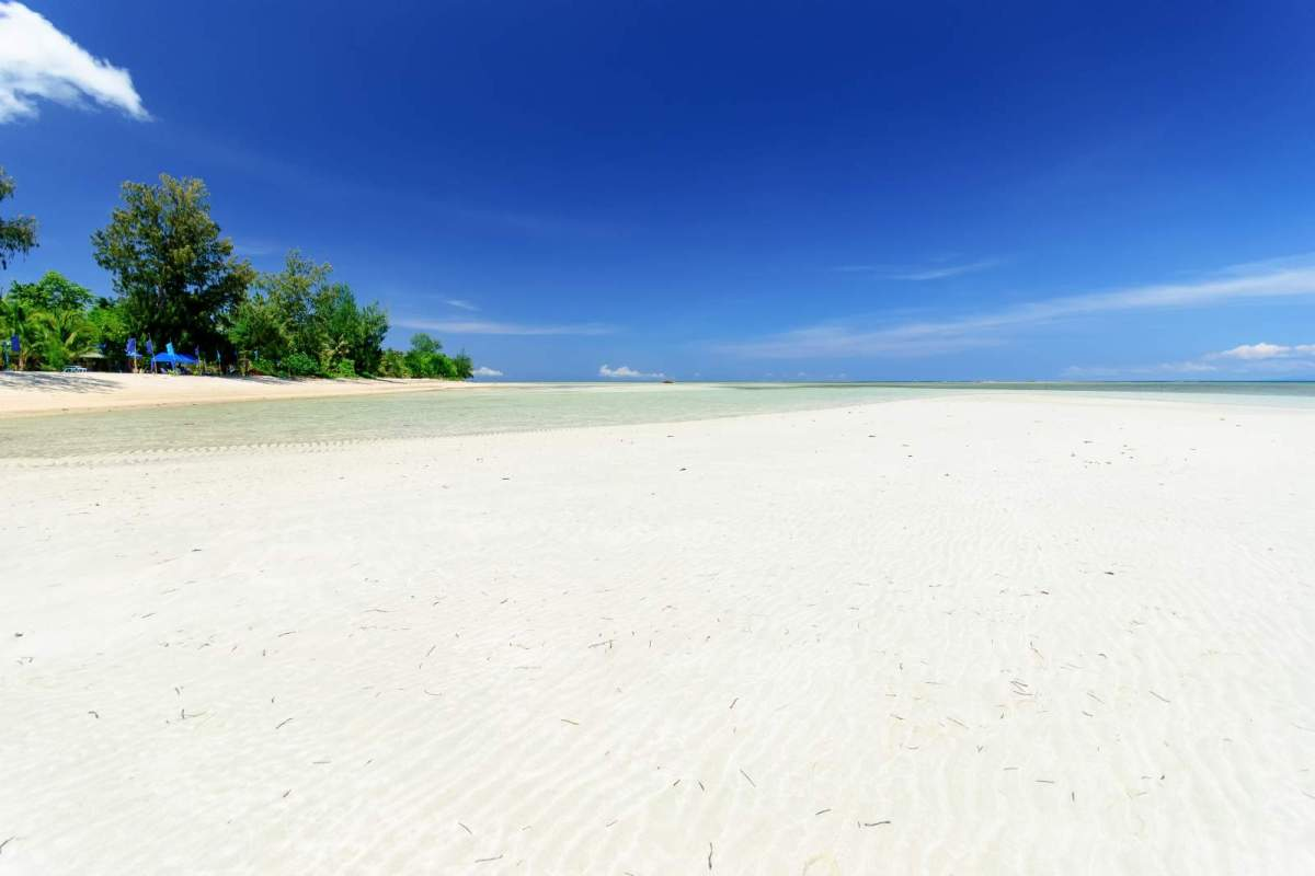 Cagbalete Island creamy white sand in front of Joven's Beach Resort