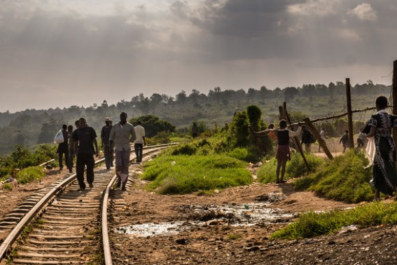 The railroad tracks in Kibera, Nairobi, Kenya
