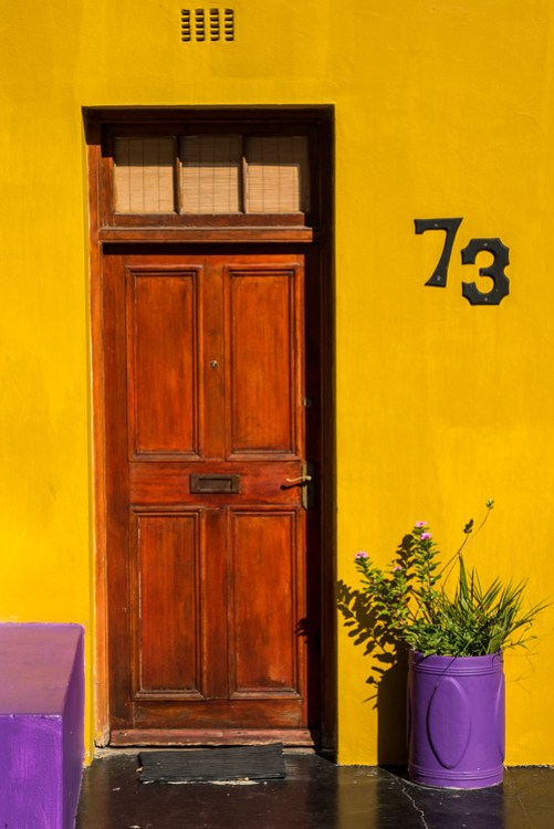 A brightly colored door in Bo-Kaap, Cape Town.