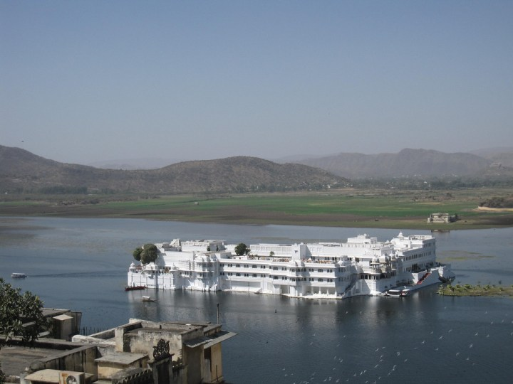 The Lake Palace in Udaipur from rooftop restaurant