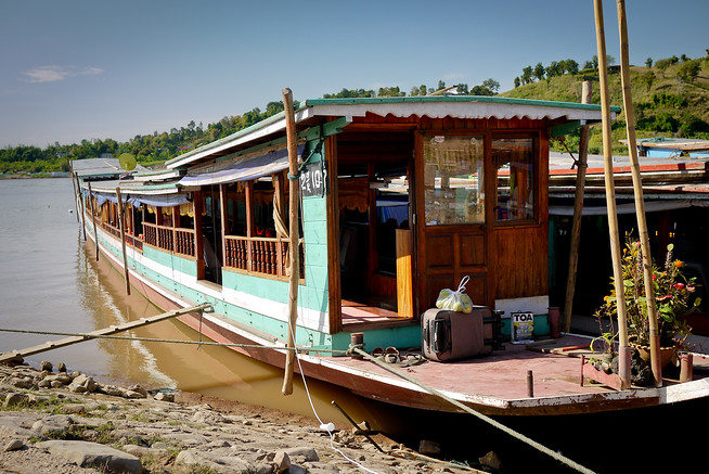 Tourist slow boat on the Mekong River