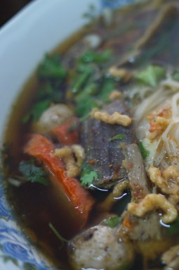 Steaming hot soup from with seitan and vegetables in a strong broth.
