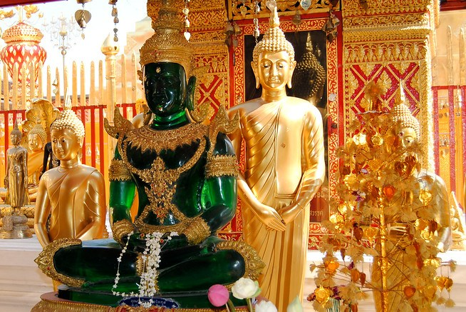 A jade Buddha at a Wat Doi Suthep in Chiang Mai, Thailand