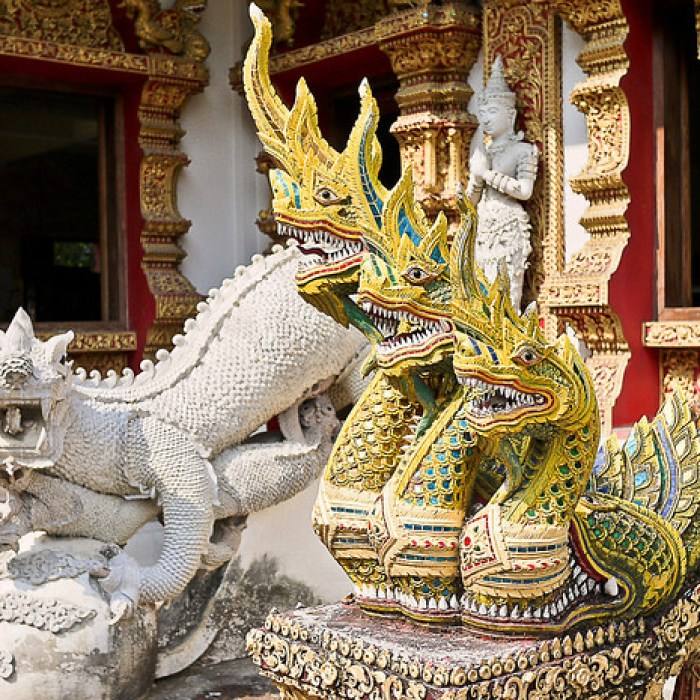 Decorative entrance to a temple in Chiang Mai, Thailand