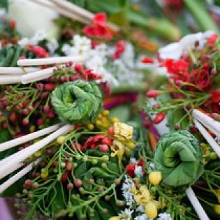 Flower offerings for the monks for Songkran in Chiang Mai, Thailand