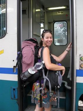 backpacker on train