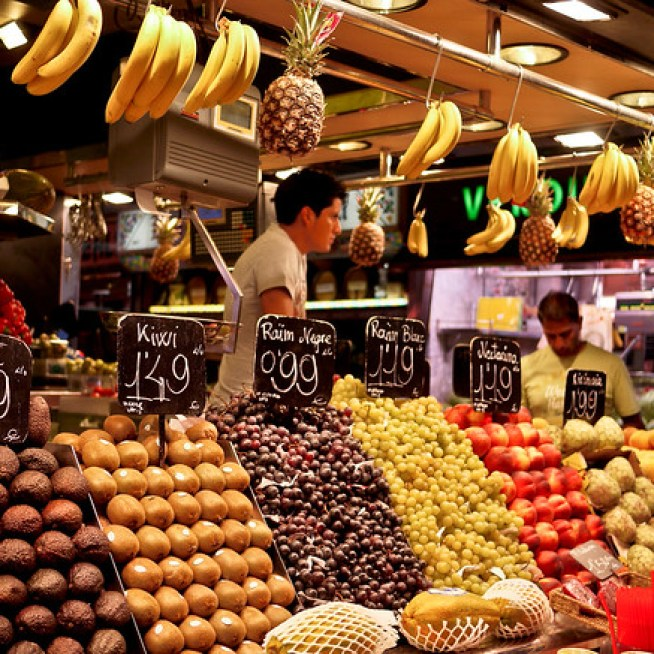 Fresh fruits in Barcelona, Spain at la Boqueria market.