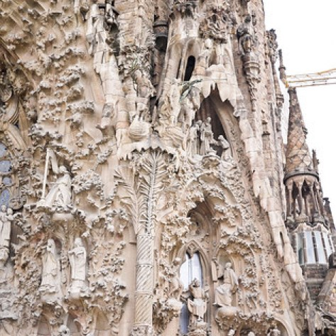 The clear personality in the architecture of the  Nativity façade of La Sagrada Familia in Barcelona, Spain