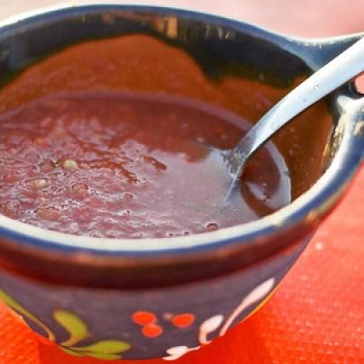 A pretty pot of medium spicy salsa in Mexico.