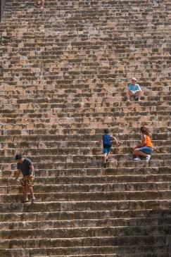 racing up the steps of ek balam