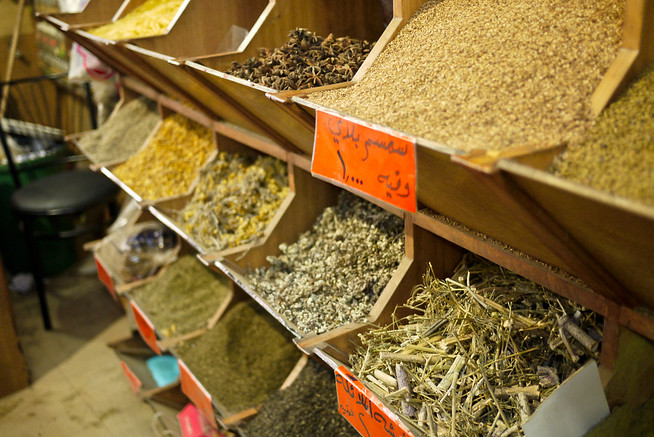 Spices laid out in bulk at a shop in Amman, Jordan