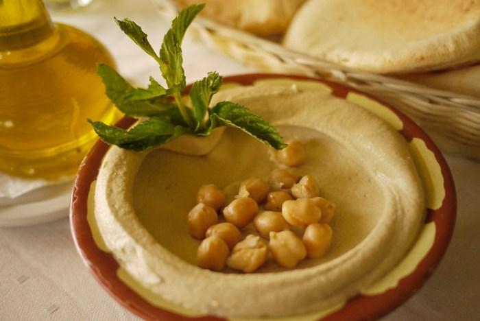 Closeup of hummus dip as a Jordanian mezze to start the meal.