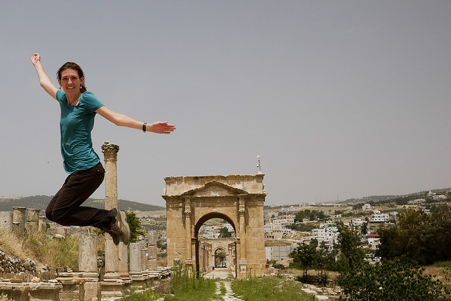 In Jerash and jumping over the ancient Greco-Roman city of Gerasa, one of the best preserved Roman cities in the near-east.