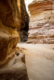 A carved channel to carry water deep inside of the ancient Nabataean city of Petra, Jordan.