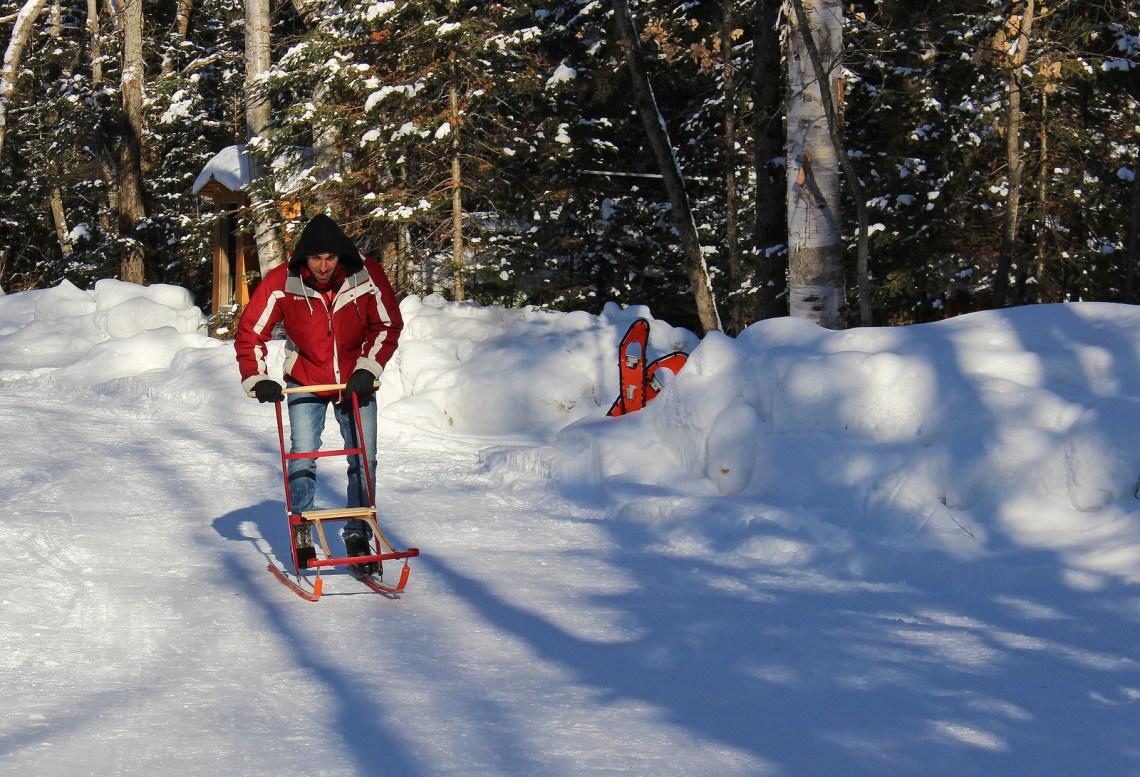 Winter outdoor adventures at Northern Edge Algonquin in Algonquin Park, Ontario, Canada.