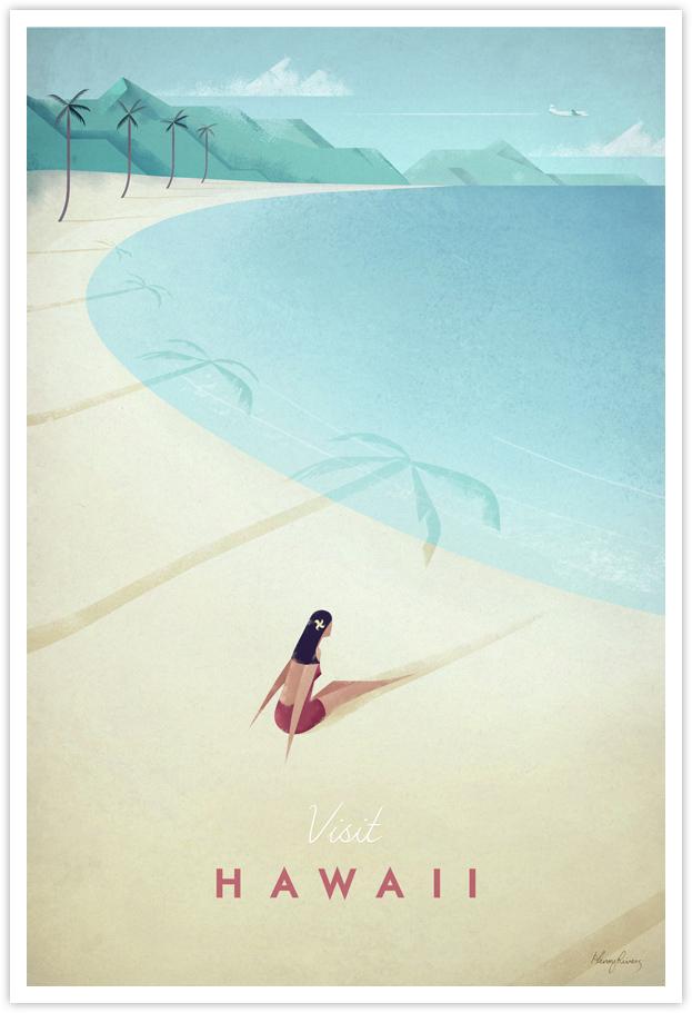 hawaii vintage travel poster travel