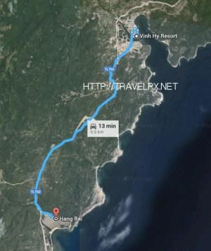 Đường đi Hang Rái từ Vĩnh Hy