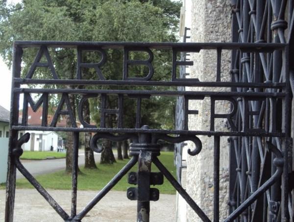 The gate inside Dachau Concentration Camp Memorial Site.