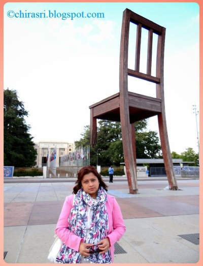 Myself in front of the Broken Chair - A symbol of peace in Geneva, Switzerland.