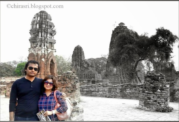 Me and my husband, Siddhartha in Wat Maha That in Ayutthaya.
