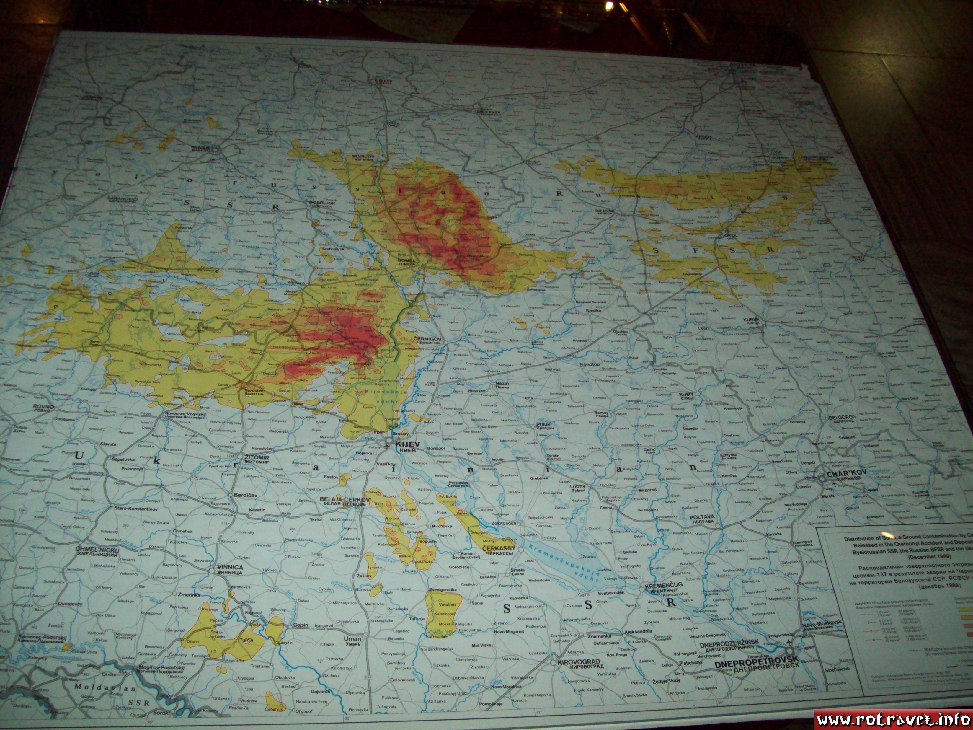 A map with radioactive contamination after the Chernobyl disaster