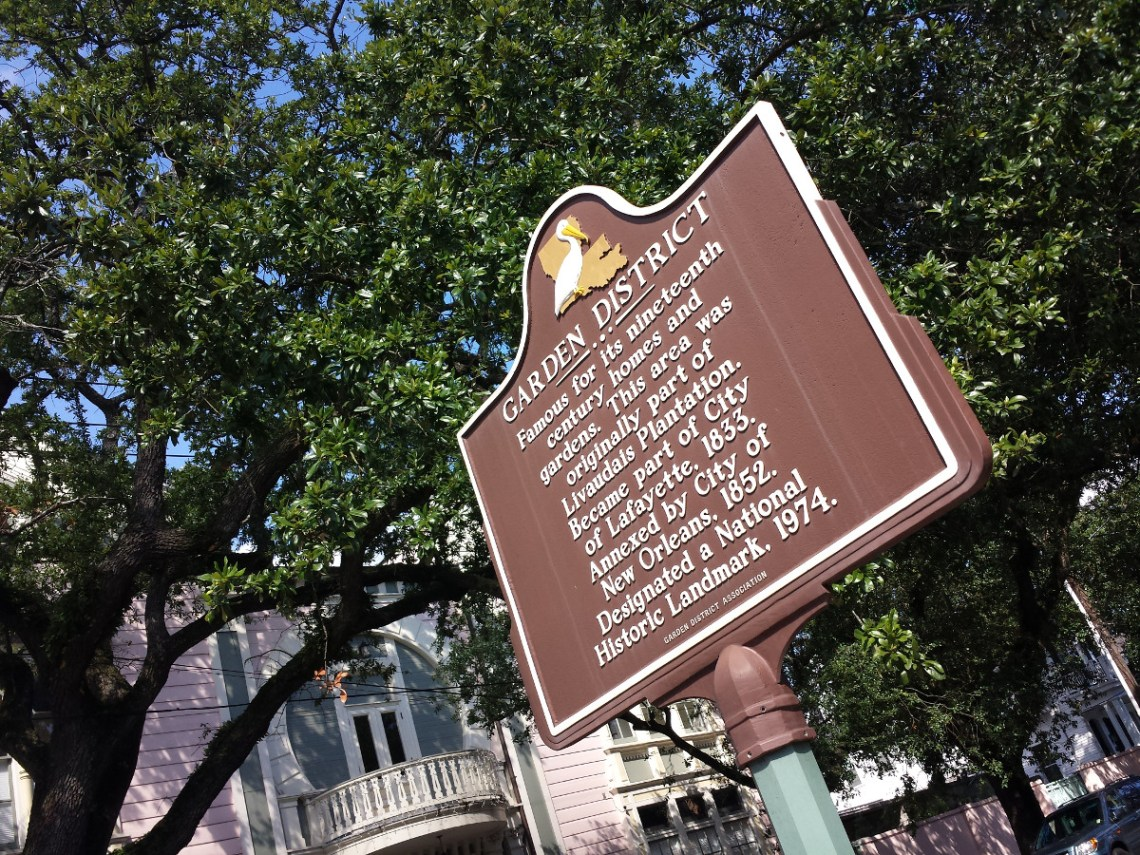 Garden District sign