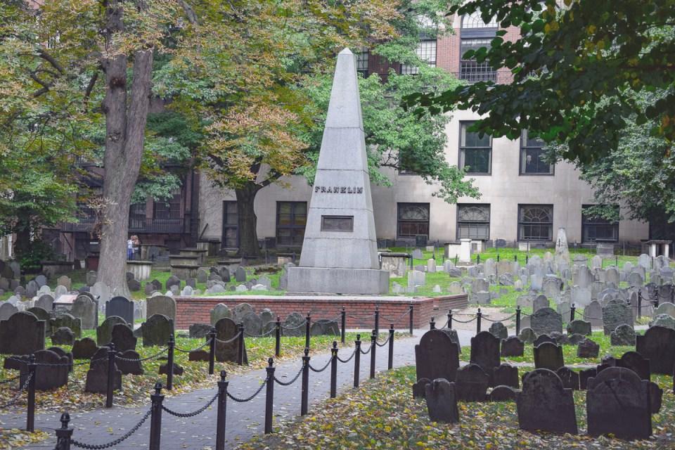 Das Grab von Benjamin Franklin, ehemaliger Präsident der USA