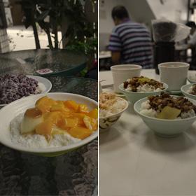 冰讃のマンゴーかき氷、の前に魯肉飯と鶏肉飯