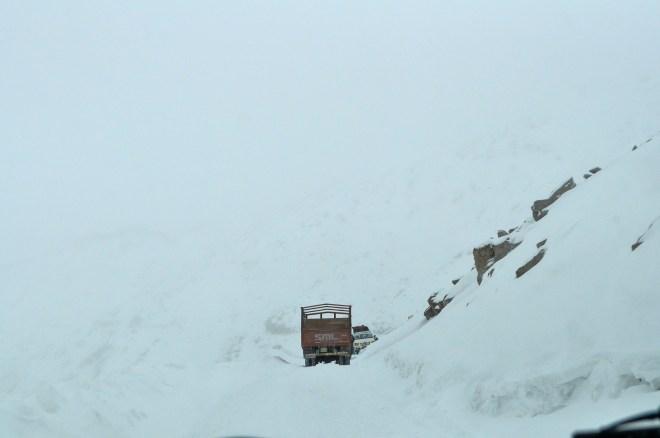 Snowstorm scenes at Khardung La