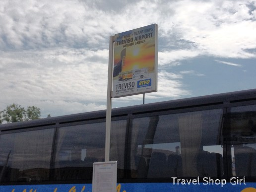 Treviso airport bus waits to depart Piazzale Roma