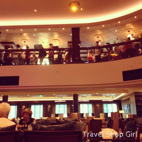 Looking up from the Café & Bar at the Atrium during disembarkation