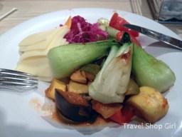Baby bok choy, salad, grilled veggies